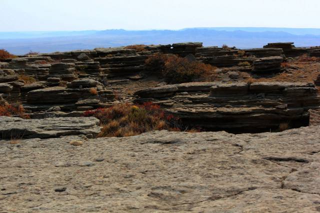 Stacked rock on the rim rocks.  Midwest, Wyoming