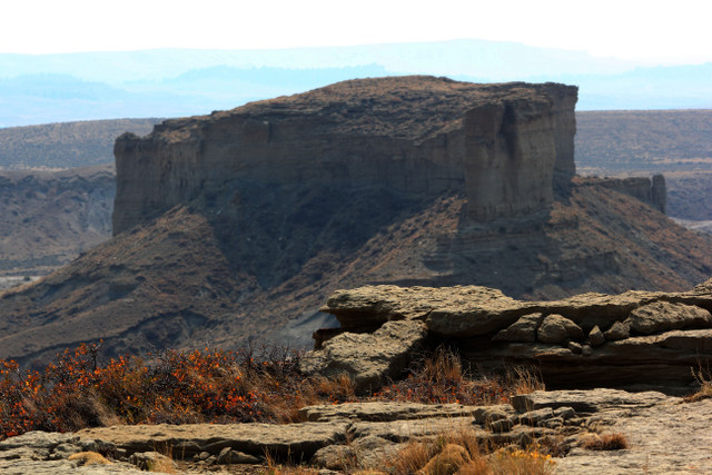 View of neighboring rim rock.  Midwest, Wyoming
